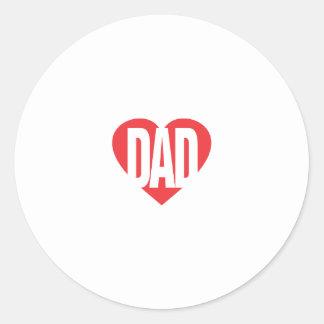 I papá del corazón pegatina redonda