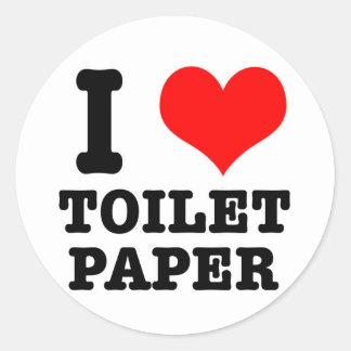 I papel higiénico del CORAZÓN (AMOR) Pegatina Redonda