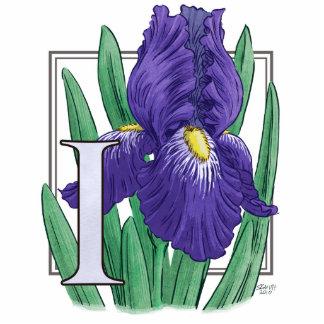 I para el monograma de la flor del iris fotoescultura vertical