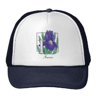 I para el monograma de la flor del iris gorro