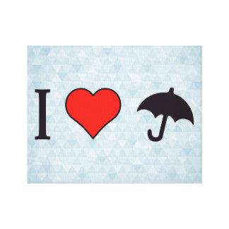 I paraguas del corazón impresion en lona