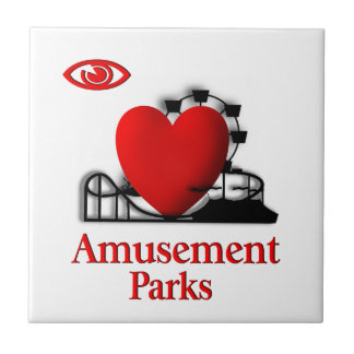 I parques de atracciones del corazón azulejo cuadrado pequeño