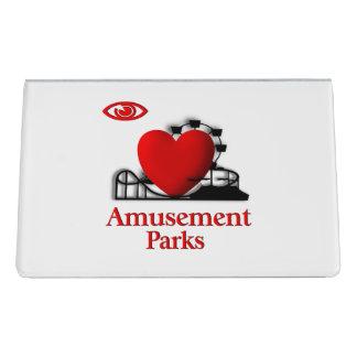 I parques de atracciones del corazón caja de tarjetas de visita para escritorio