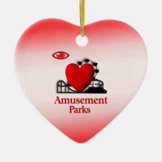 I parques de atracciones del corazón adorno de cerámica en forma de corazón