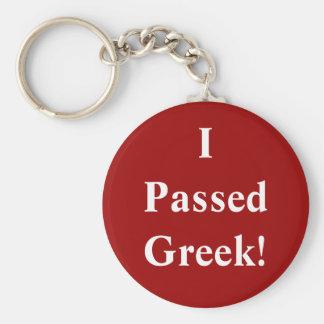 I Passed Greek Basic Round Button Keychain