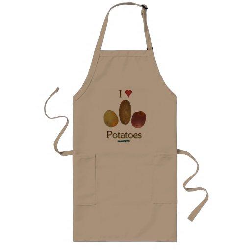 I patatas del corazón delantal largo