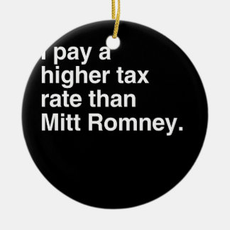 I pay a higher tax rate than Mitt Romney.png Double-Sided Ceramic Round Christmas Ornament