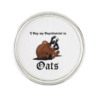 I pay my psychiatrist in Oats Brown Horse on Back Pin