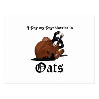 I pay my psychiatrist in Oats Brown Horse on Back Postcard