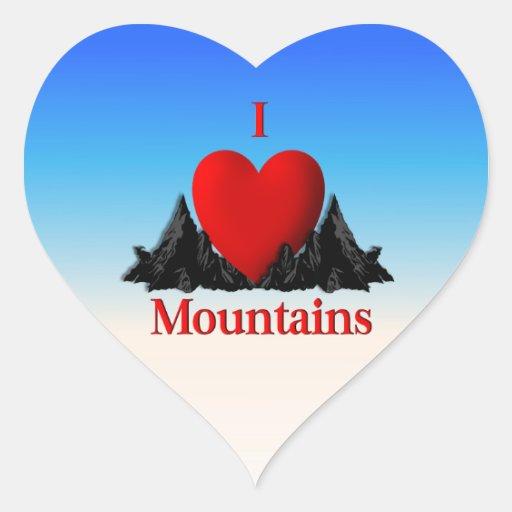 I pegatina de las montañas del corazón