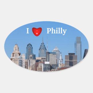 I pegatina del óvalo de Philly del corazón