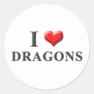 I pegatinas 001 de los dragones del corazón pegatina redonda