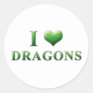 I pegatinas 003 de los dragones del corazón pegatina redonda