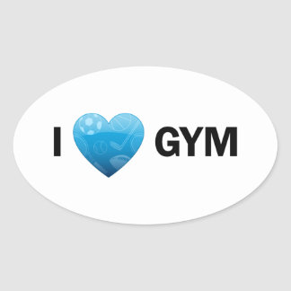 I pegatinas del gimnasio del corazón calcomania de oval