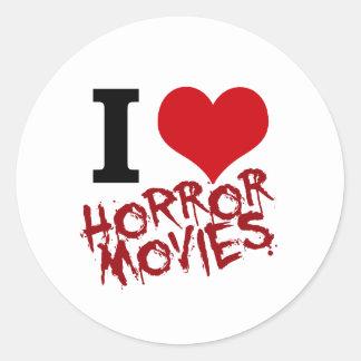 I películas de terror del corazón pegatina redonda