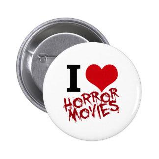 I películas de terror del corazón pin redondo de 2 pulgadas