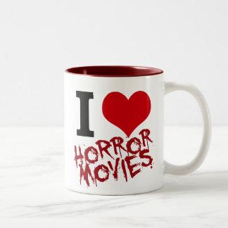 I películas de terror del corazón taza de dos tonos