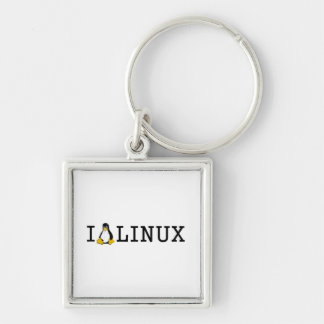 I Penguin Linux Silver-Colored Square Keychain