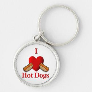 I perritos calientes del corazón llavero redondo plateado