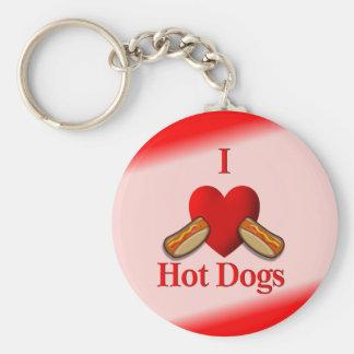 I perritos calientes del corazón llavero redondo tipo pin