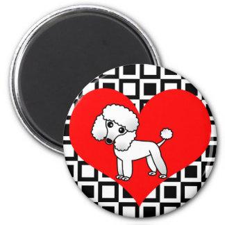 I perros del corazón - caniche blanco imán redondo 5 cm