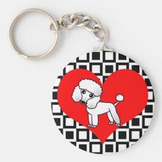 I perros del corazón - caniche blanco llavero redondo tipo pin