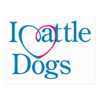 I perros del ganado del corazón postal