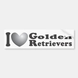 I perros perdigueros de oro del corazón - pegatina pegatina para auto
