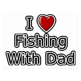 I pesca del corazón con el papá tarjetas postales