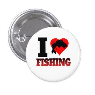 I pesca del corazón pin redondo de 1 pulgada