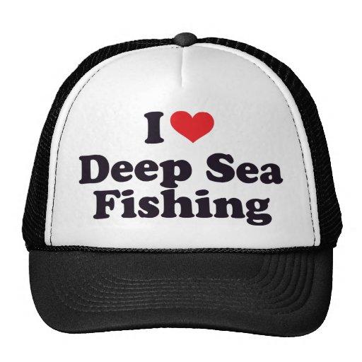 I pesca en mar profunda del corazón gorros bordados
