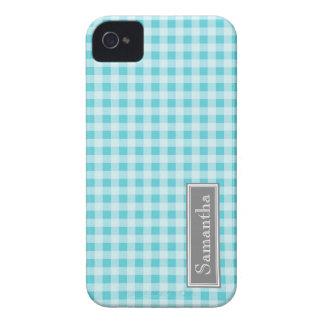 i Phone 4 Blue Gingham Custom Name iPhone 4 Case-Mate Cases