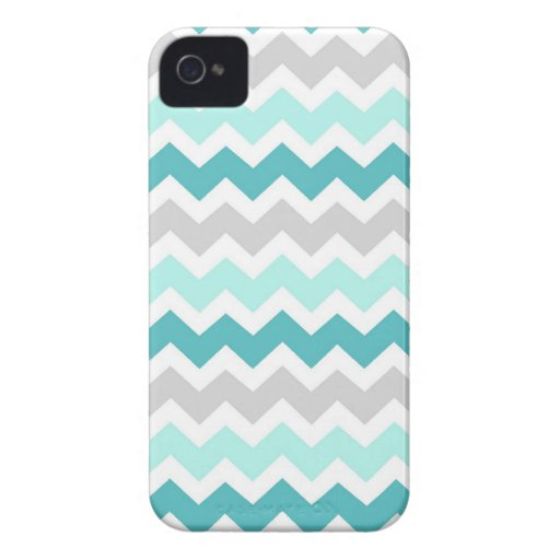 i Phone 4 Grey Teal Chevrons Pattern iPhone 4 Cases