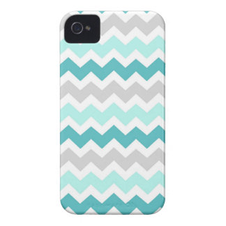 i Phone 4 Grey Teal Chevrons Pattern iPhone 4 Case