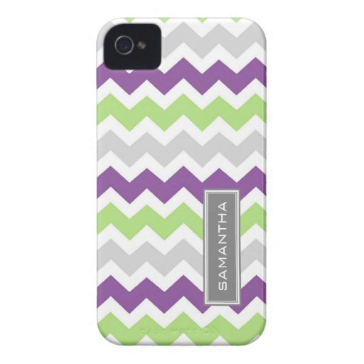 i Phone 4 Lime Plum Chevron Custom Name iPhone 4 Cases