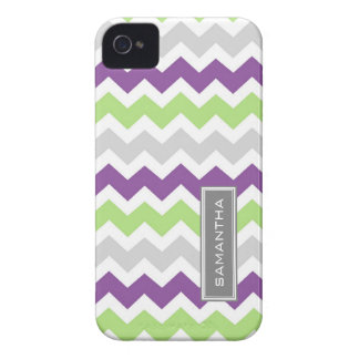 i Phone 4 Lime Plum Chevron Custom Name iPhone 4 Case