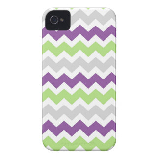 i Phone 4 Lime Plum Grey Chevrons Pattern iPhone 4 Case-Mate Case