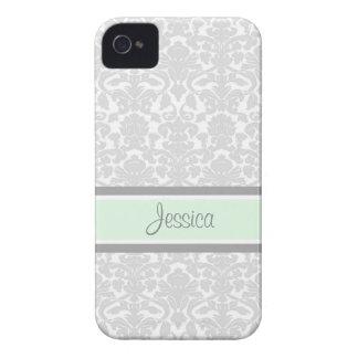i Phone 4 Mint Damask Custom Name iPhone 4 Covers