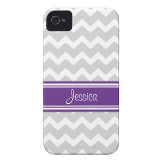 i Phone 4 Purple Gray Chevron Custom Name iPhone 4 Cover