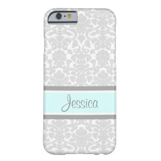 i Phone 5 Blue Gray Damask Custom Name Barely There iPhone 6 Case