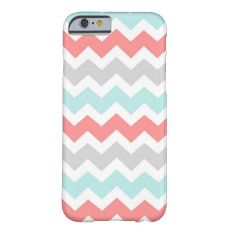 i Phone 5 Coral Aqua Grey Chevrons Pattern Barely There iPhone 6 Case