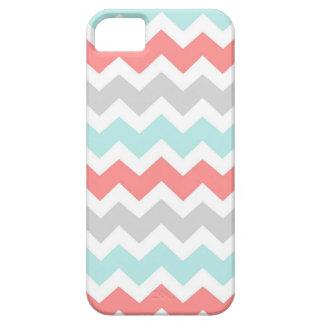 i Phone 5 Coral Aqua Grey Chevrons Pattern iPhone SE/5/5s Case