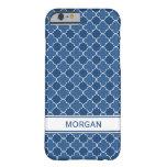 i Phone 5 Custom Name Blue Quatrefoil Pattern iPhone 6 Case