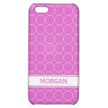 i Phone 5 Custom Name Pink White Circles Pattern iPhone 5C Cover