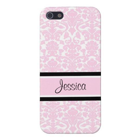 i Phone 5 Pink Damask Custom Name Case For iPhone SE/5/5s