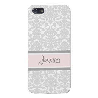 i Phone 5 Pink Damask Custom Name iPhone 5/5S Cases