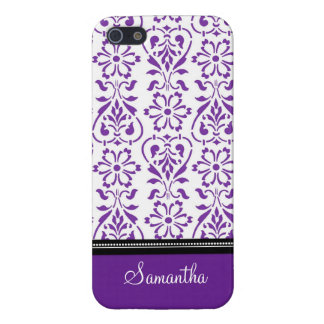 i Phone 5 Purple Black Damask Custom Name Cover For iPhone SE/5/5s