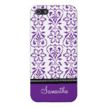 i Phone 5 Purple Black Damask Custom Name iPhone 5/5S Cover
