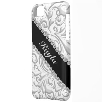 I phone 5C COVER SILVER BLACK EMBOSSED Bling look