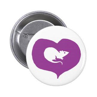 I Pin de las ratas del corazón Pin Redondo 5 Cm